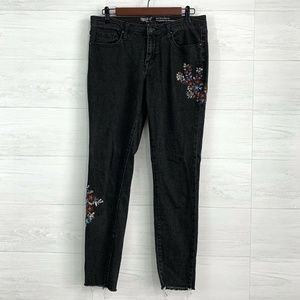 Mossimo Faded Black Skinny Leg Floral Jeans